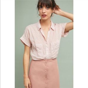 Anthropologie Cloth & Stone Zoe Pink Button Up Top